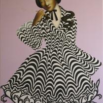 """A Sparrow Lover, 2006, acrylic on wood panel, 30""""X50"""""""