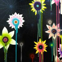 "Stupid Ophelia ( detail), 2013 acrylic and glitter on canvas 59""w X 70""h 149.86cm X 177.8cm"