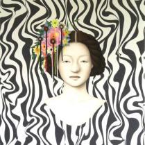 """Stupidly lovely head dreass, 2013 acrylic on canvas 25""""w X 32""""h 63.5cm X 81.28cm"""